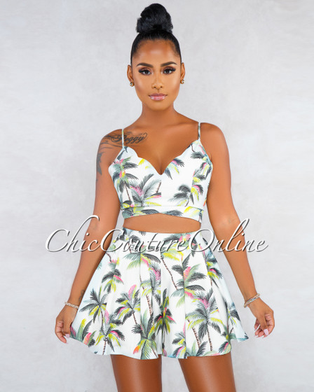 Louisetta Off-White Palm Print Flutter Two Piece Set