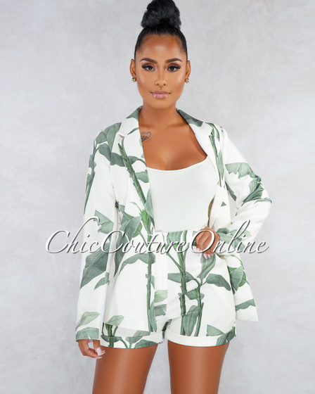 Dabney Ivory Green Leaf Print Blazer Belt Shorts Two Piece Set