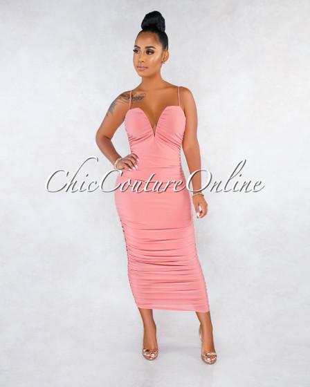 Raith Blush V Neck Ruched Midi Dress