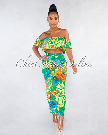 Quinny Green Multi-Color Leaf Print Ruffle Two Piece Set