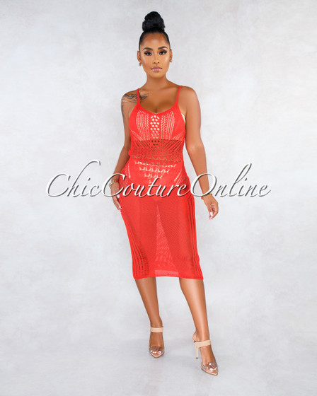 Palani Red Crochet Cover-Up Midi Dress