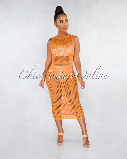 Panthea Mustard Yellow Crochet Cover-Up Midi Dress