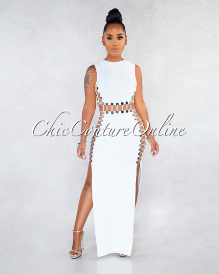 Abbatha Off-White Silver Snaps Strappy Cut-Out Bandage Dress