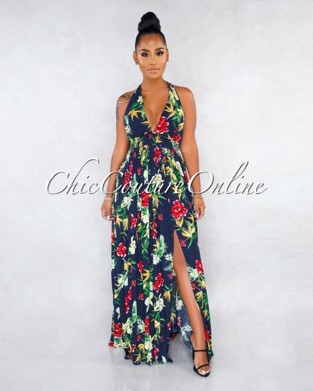 Sagira Navy Blue Floral Print Open Back Front Slits Maxi Dress