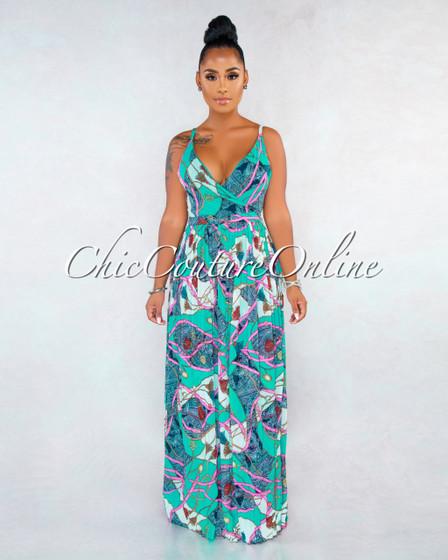 Sabbir Pine Green Multi-Color Print Pleated Maxi Wrap Dress