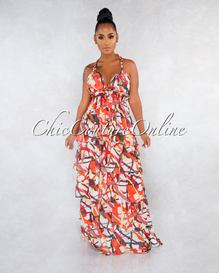 Jacinth Orange Multi-Color Print Ruffle Tier Maxi Dress