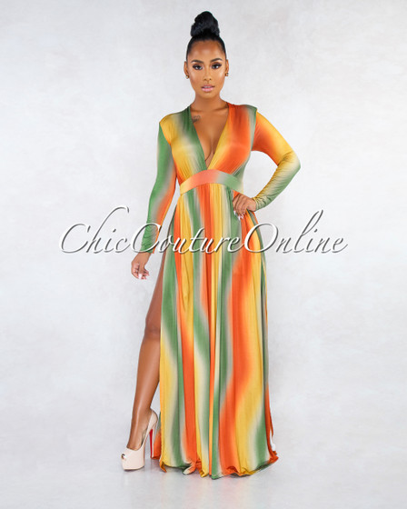 Kisha Green Orange Ombre Stripes High Slits Maxi Dress