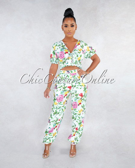 Jaffer White Multi-Color Floral Print Two Piece Jogger Set