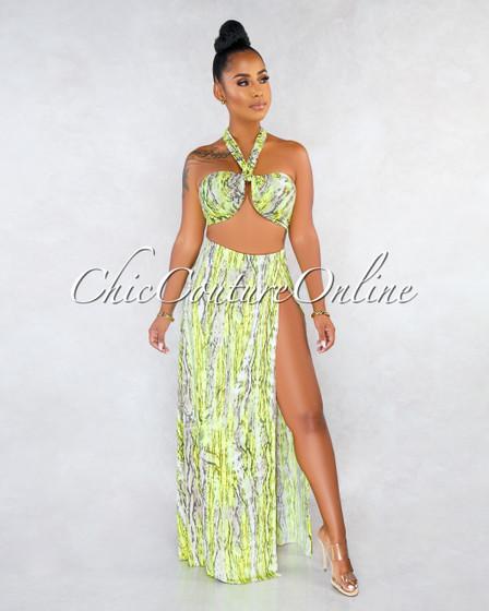 Nafisa Neon Lemon Snake Print Multi-Way Top Skirt Two Piece Set