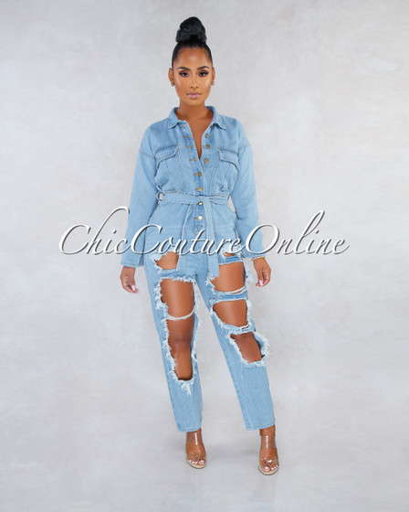 Tacey Medium Blue Denim Destroyed Utility Jumpsuit