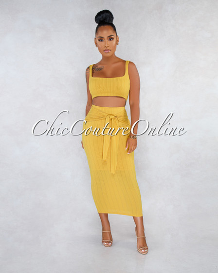 Marceline Mustard Ribbed Front Tie Skirt Two Piece Set