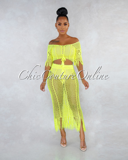 Charlotte Neon Yellow Crochet Cover-Up Fringe Two Piece Set