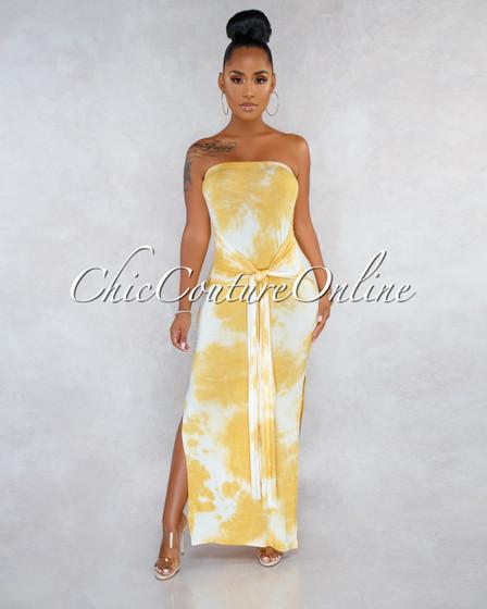 Floriane Mustard White Tie-Dye Front Tie Strapless Maxi Dress