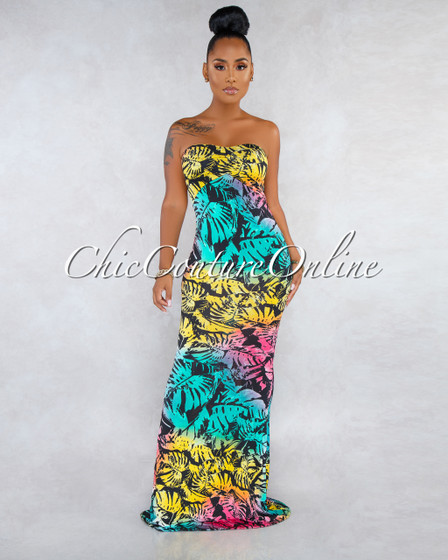 Parlan Black Multi-Color  Print Strappy Back Maxi Dress
