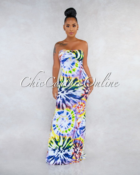 Earlene Purple Multi-Color Print Strappy Back Maxi Dress