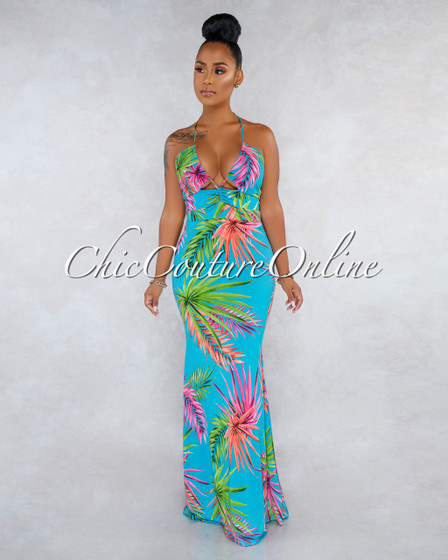 Halyn Turquoise Leaf Print Ruched Cut-Out Maxi Dress