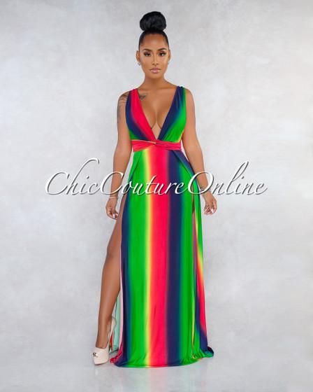 Kalisha Green Multi-Color Ombre Stripes High Slits Maxi Dress