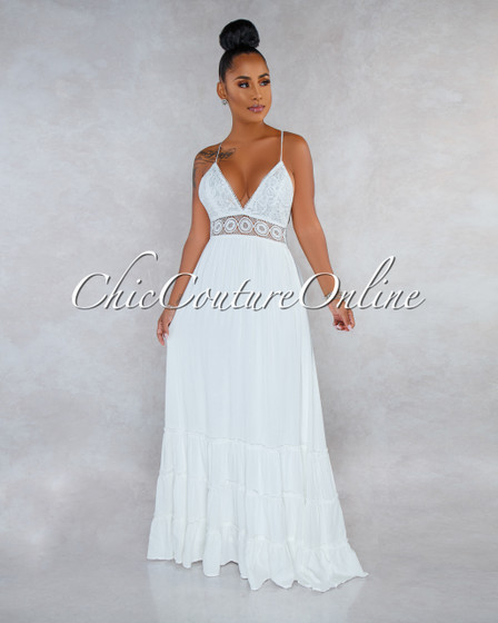 Nadalia Off-White Crochet See-Through Waist Maxi Dress