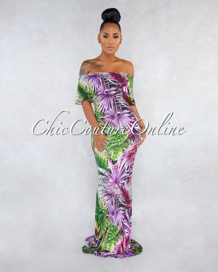 Mangoh Purple Multi-Color Print Off-The Shoulder Maxi Dress