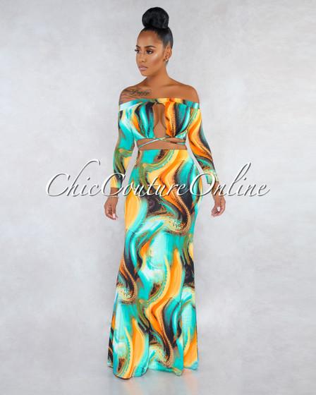 Raisie Orange Teal Multi Color Print Two Piece Skirt Set