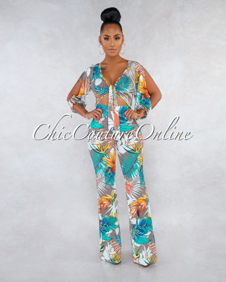Hilaria Mocha Multi-Color Leaf Print Front Tie Cut-Out Jumpsuit