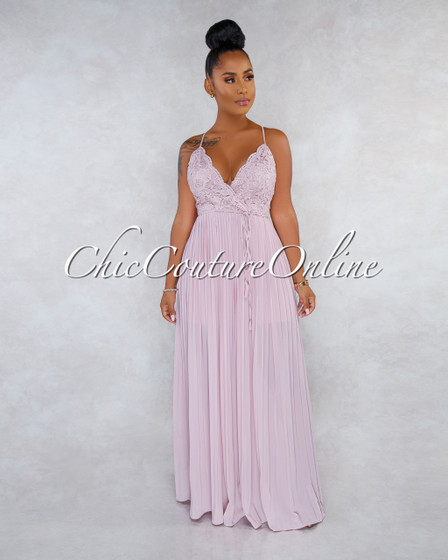Xandy Dusty Rose Crochet Top CURVACEOUS Pleated Maxi Dress