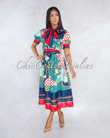 Grewnie Navy Blue Multi-Color Print Two Piece Midi Skirt Set