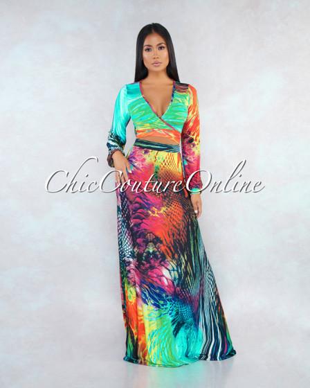 Dores Navy Blue Multi Color Print Two Piece Skirt Set
