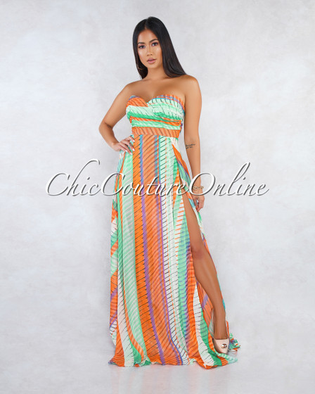 Amania Orange Multi-Color Drap Top Bodysuit Maxi Dress