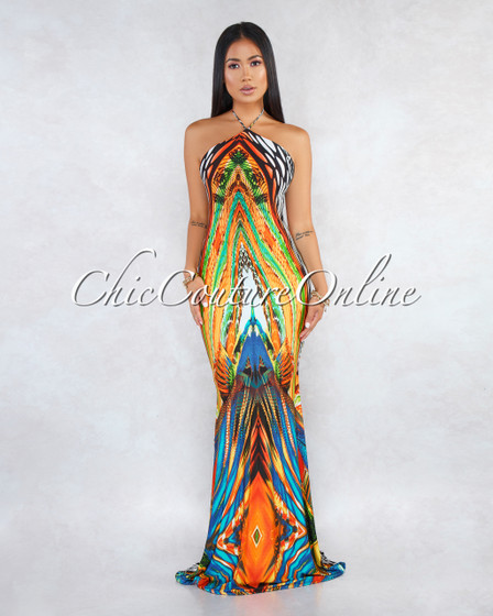 Leanne Orange Multi-Color Abstract Print Halter Maxi Dress
