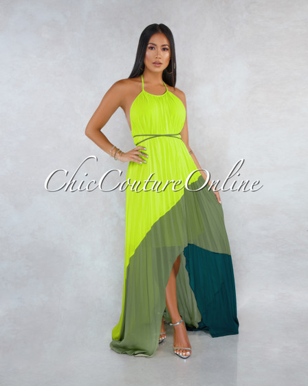 Jaxton Neon Green Olive Hunter Pleated Asymmetrical Maxi Dress
