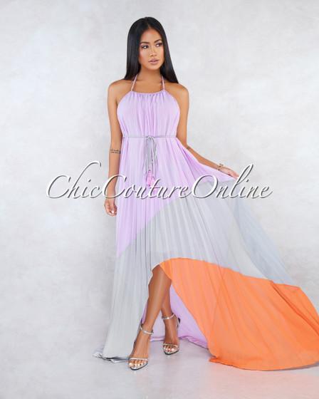 Jaxton Lavender Grey Orange Pleated Asymmetrical Maxi Dress