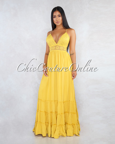 Nadalia Yellow Crochet See-Through Waist Maxi Dress