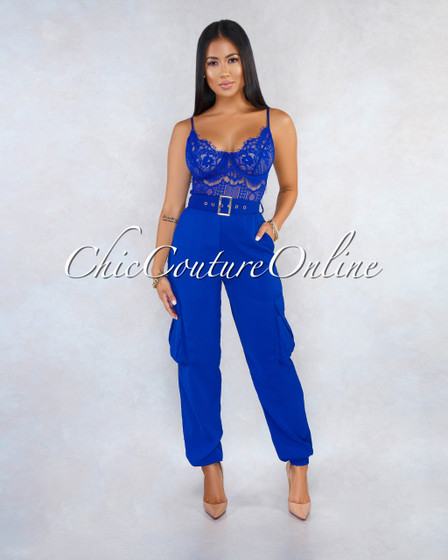 Anica Royal Blue Lace Sheer Top Cargo Bottom Belt Jumpsuit