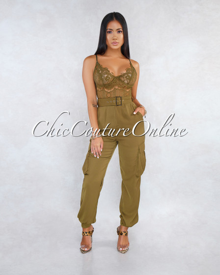 Anica Olive Green Lace Sheer Top Cargo Bottom Belt Jumpsuit