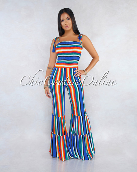 Rowland Multi-Color Stripes Ruched Top Bell Hem Jumpsuit
