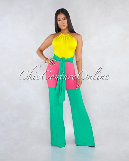 Maite Yellow Fuchsia Jade Color-Block Belt/Bandana Jumpsuit