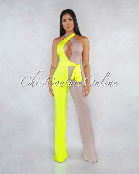 Ilani Neon Lime Mocha Two-Tone Front Cross Jumpsuit