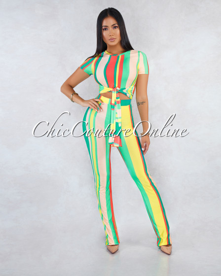 Eireen Multi-Color Stripes Cut-Out Front Tie Jumpsuit