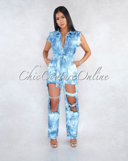 Tyger Medium Blue Tie-Dye Denim Destroyed Utility Jumpsuit