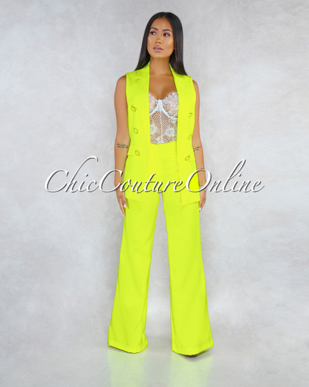Embry Neon Yellow Double Breast Vest Two Piece Set