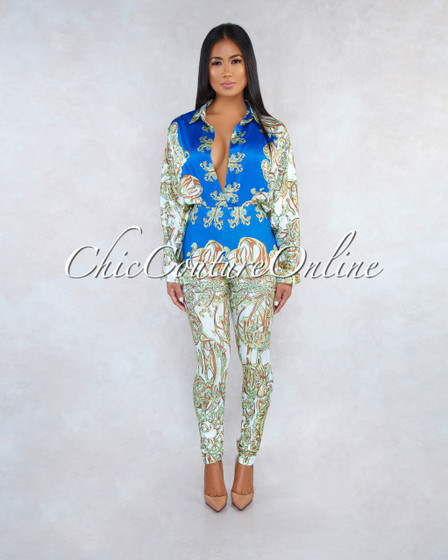 Maxana Blue Multi-Color Print Bodysuit Leggings Two Piece Set