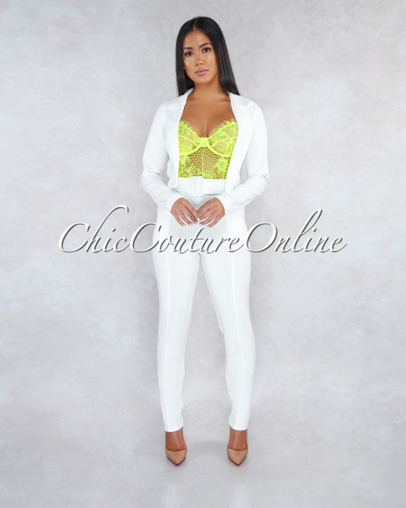 Brenlynn Off-White Short Jacket Two Piece Set