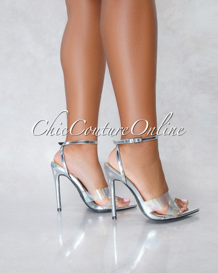 Zilia Hologram Clear Strap Silver High Heels