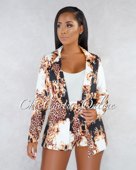 Lucia Black Gold Print Blazer Shorts Two Piece Set