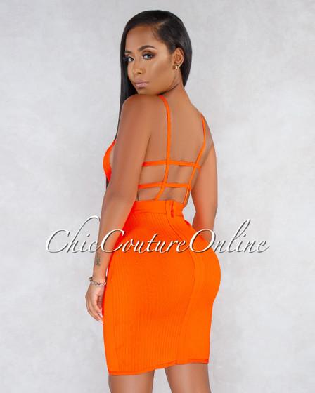 Kenzor Neon Orange Open Strappy Back Bandage Mini Dress