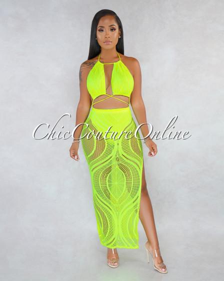 Rutshell Neon Lemon Mesh Cut-Out Strappy Maxi Dress