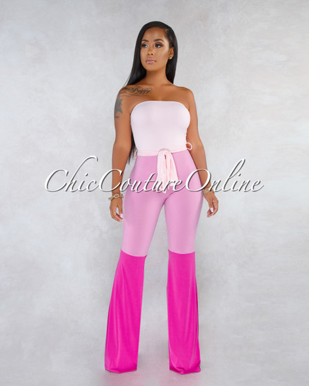 Lotusa Pink Tones Color-Block Strapless Jumpsuit