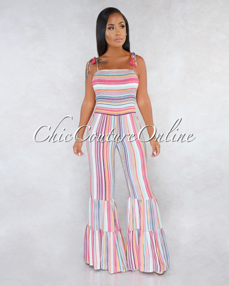 Tomma Pink Multi-Color Stripes Ruched Top Bell Hem Jumpsuit