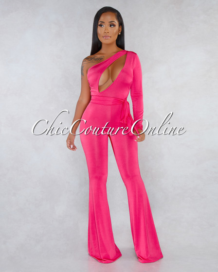 Saylor Fuchsia Front Cut-Out Single Long Sleeve Jumpsuit